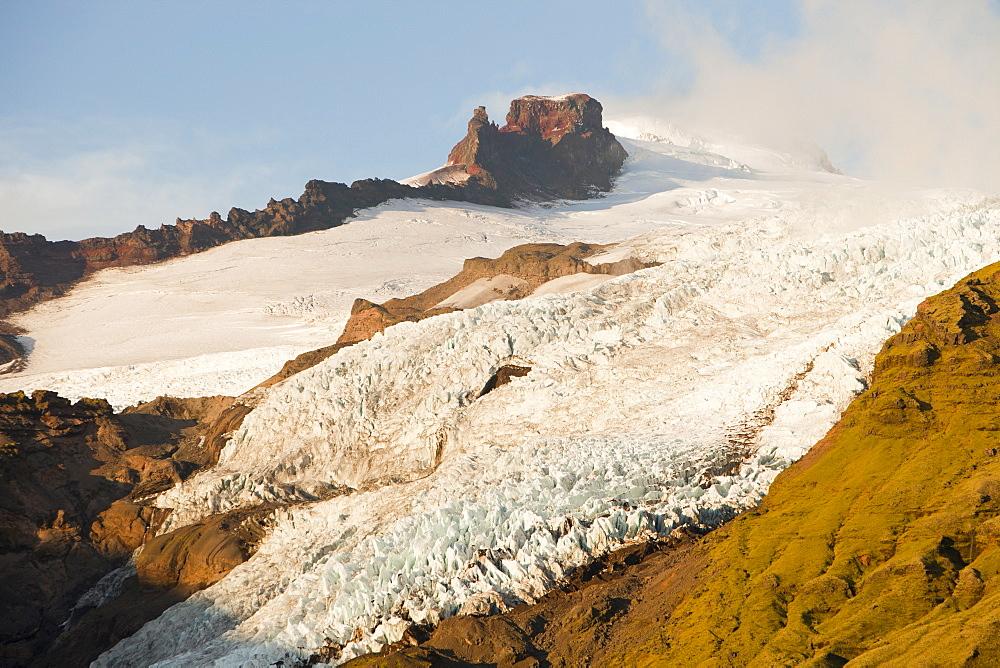 Glacier descending from the Vatnajokull ice sheet, Iceland, Polar Regions