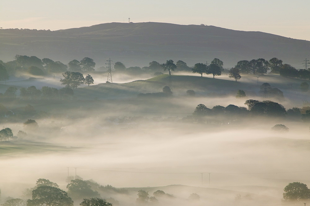 Morning mist over the Kent Valley near Kendal, Cumbria, England, United Kingdom, Europe