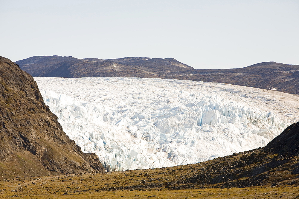 A glacier coming off the Greenland ice sheet near Camp Victor north of Ilulissat, Greenland, Polar Regions