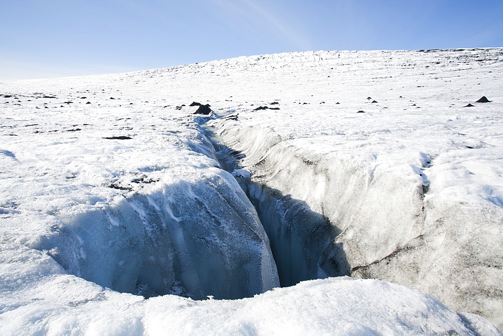 A moulin (meltwater sink hole) on the Langjokull glacier, Iceland, Polar Regions