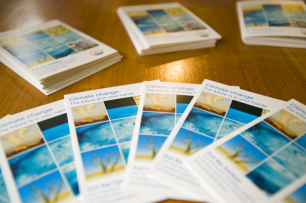Leaflets about climate change, Cumbria, England, United Kingdom, Europe