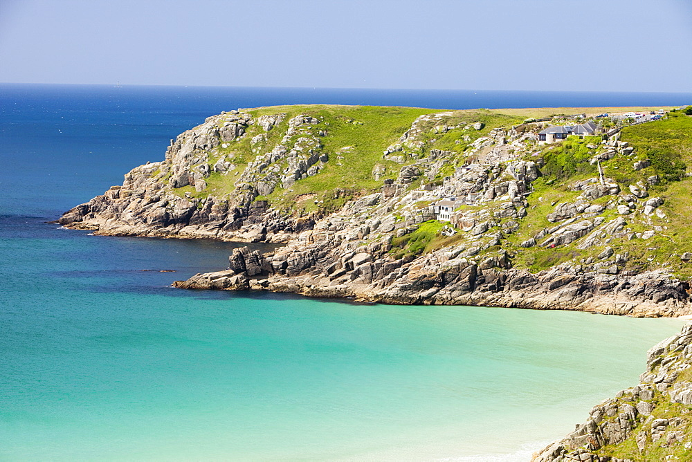 Porthcurno Beach looking towards the Minack Theatre, in West Cornwall, England, United Kingdom, Europe