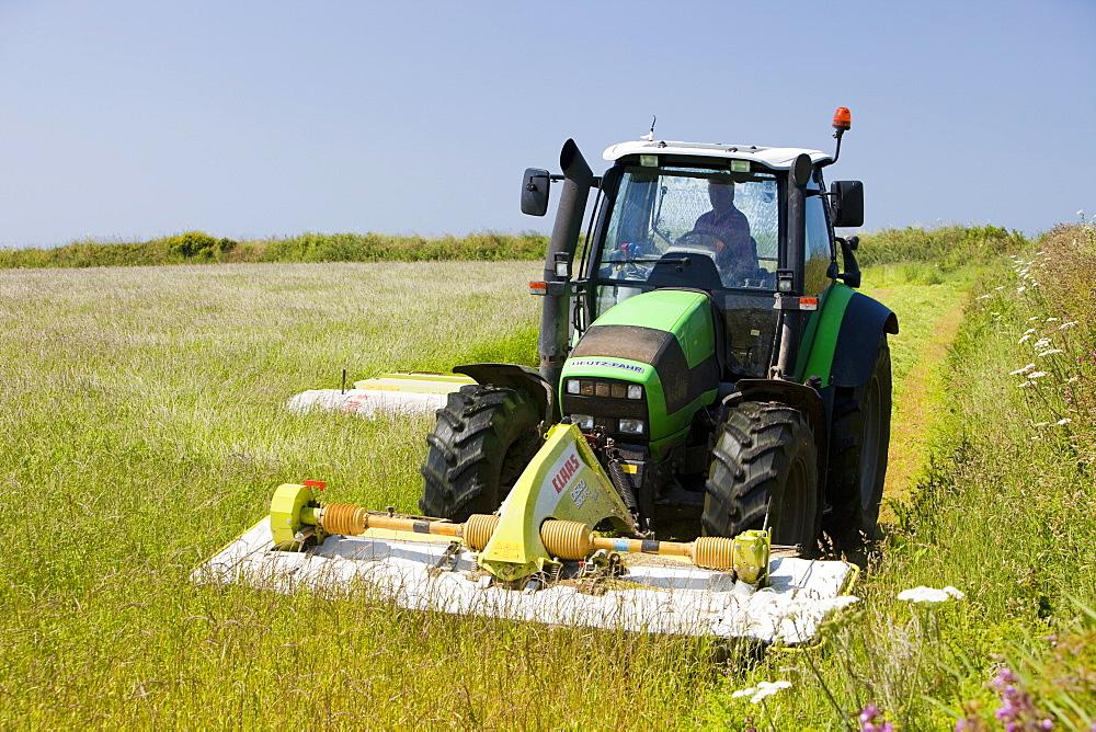 A farmer mowing grass for hay near Porthcurno, Cornwall, England, United Kingdom, Europe