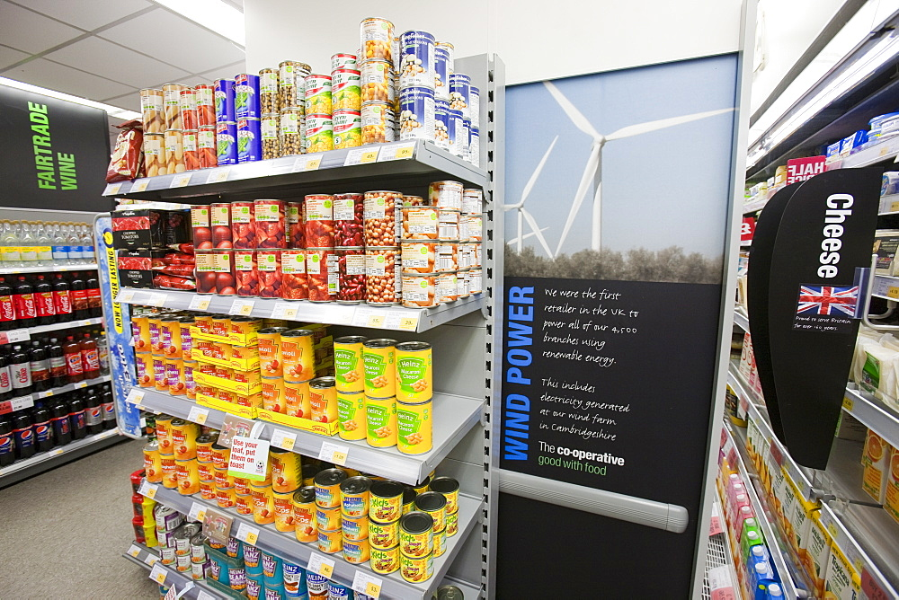 A poster in the St. Just Coop highlighting the fact that all of the Coop's supermarkets are powered by electricity generated from renewable energy, Cornwall, England, United Kingdom, Europe