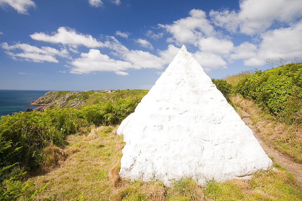A cairn marking the point where the first submarine telegraph cable crossed from the U.K. to the U.S.A., at Porthcurno, Cornwall, England, United Kingdom, Europe