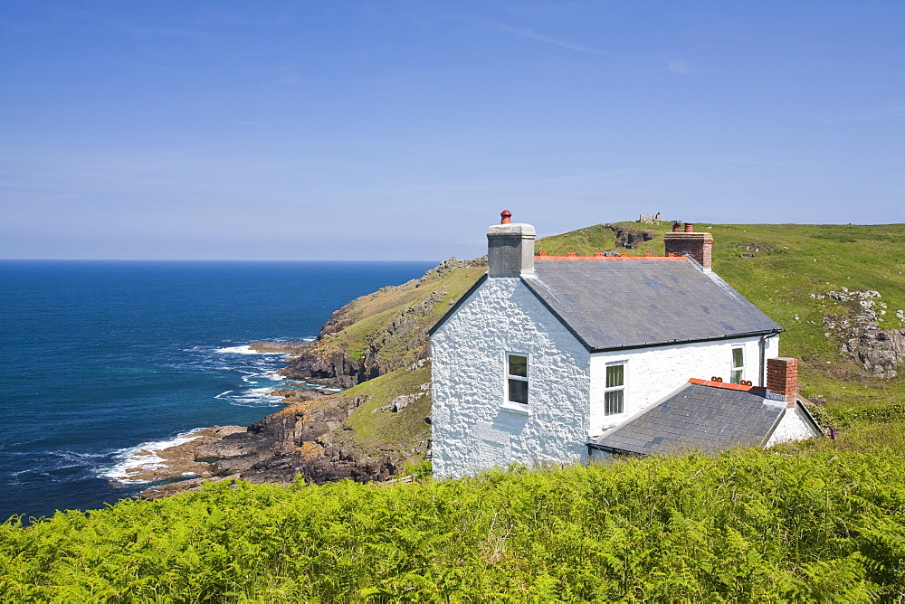 A holiday cottage with fantastic sea views on Cape Cornwall near St. Just, Cornwall, England, United Kingdom, Europe