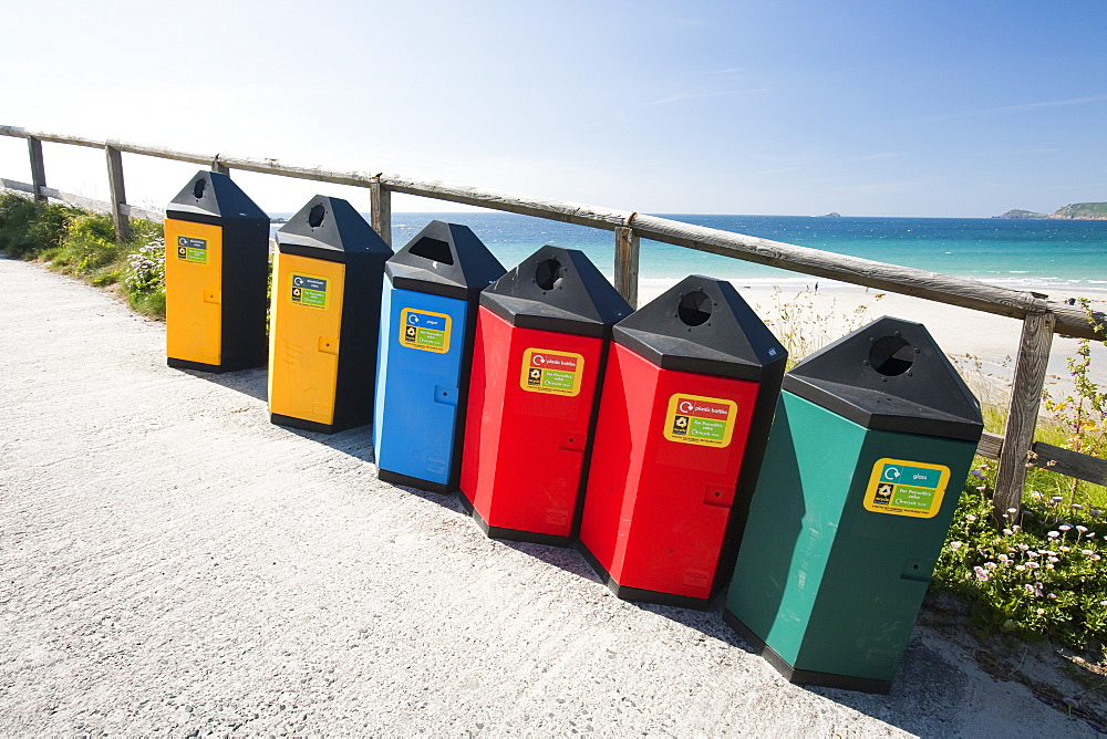 Recycling bins at Sennen Cove, Cornwall, England, United Kingdom, Europe - 911-7173