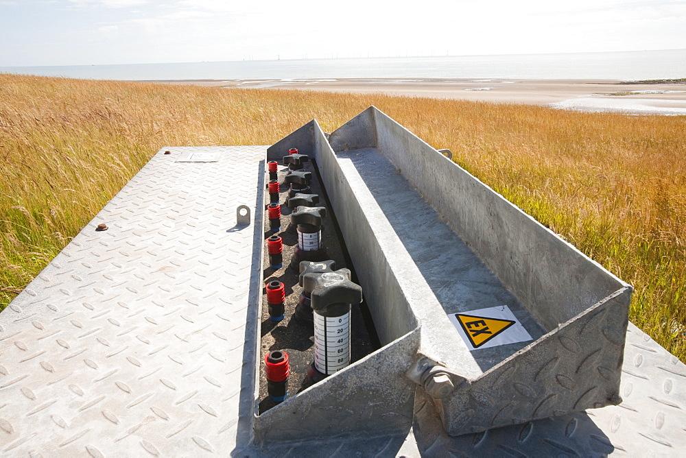 Two sources of renewable energy on Walney Island, Barrow in Furness, Cumbria, England, United Kingdom, Europe