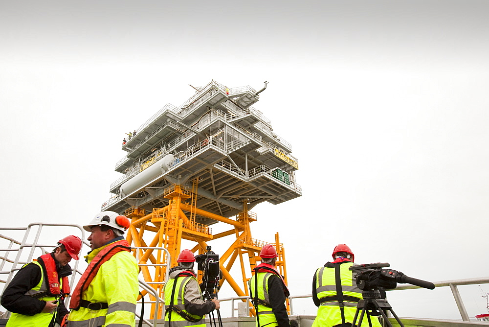 The transformer substation that connects all the electric cable from each turbine, before sending the electricity ashore, Walney Offshore Wind Farm, Barrow in Furness, Cumbria, England, United Kingdom, Europe