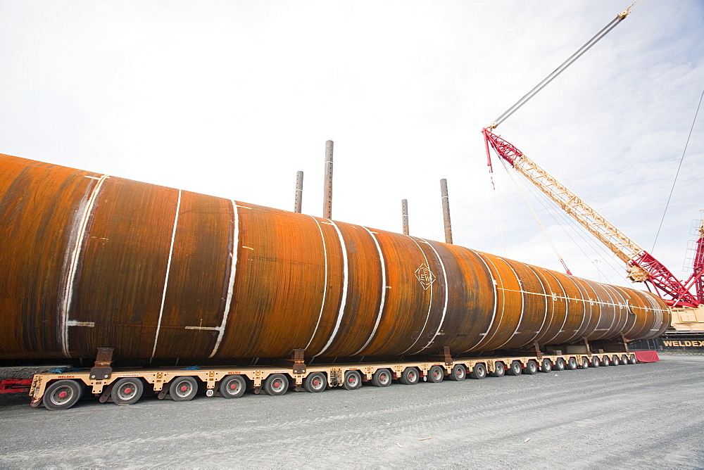 The massive monopiles that are hammered 30 metres into the seabed to anchor the wind turbines, Walney Offshore Wind Farm, Barrow in Furness, Cumbria, England, United Kingdom, Europe