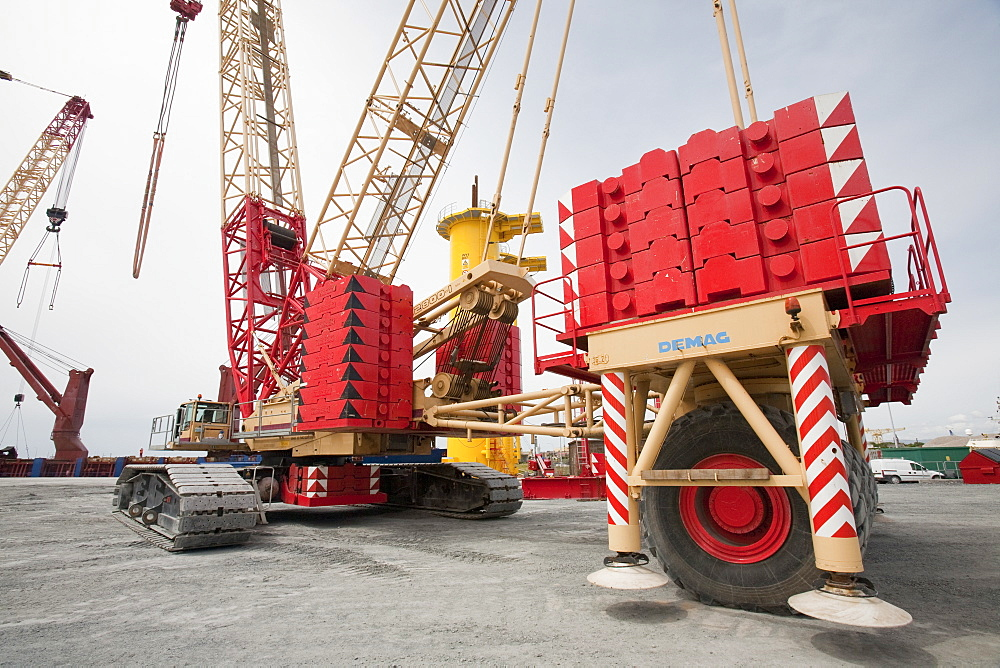 Huge weighted cranes used to lift components for the Walney Offshore Wind Farm, Barrow in Furness, Cumbria, England, United Kingdom, Europe