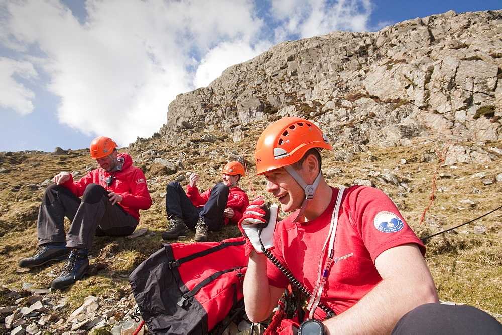 Members of Langdale Ambleside Mountain Rescue set up a belay to lower a team member into Dungeon Ghyll, to rescue injured walkers, Langdale,, United Kingdom, Europe