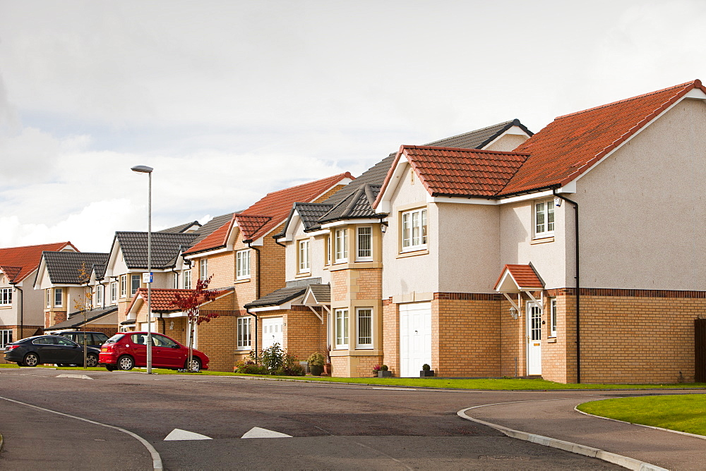 New houses in a housing estate on the outskirts of Stonehouse, south of Glasgow, Scotland, United Kingdom, Europe