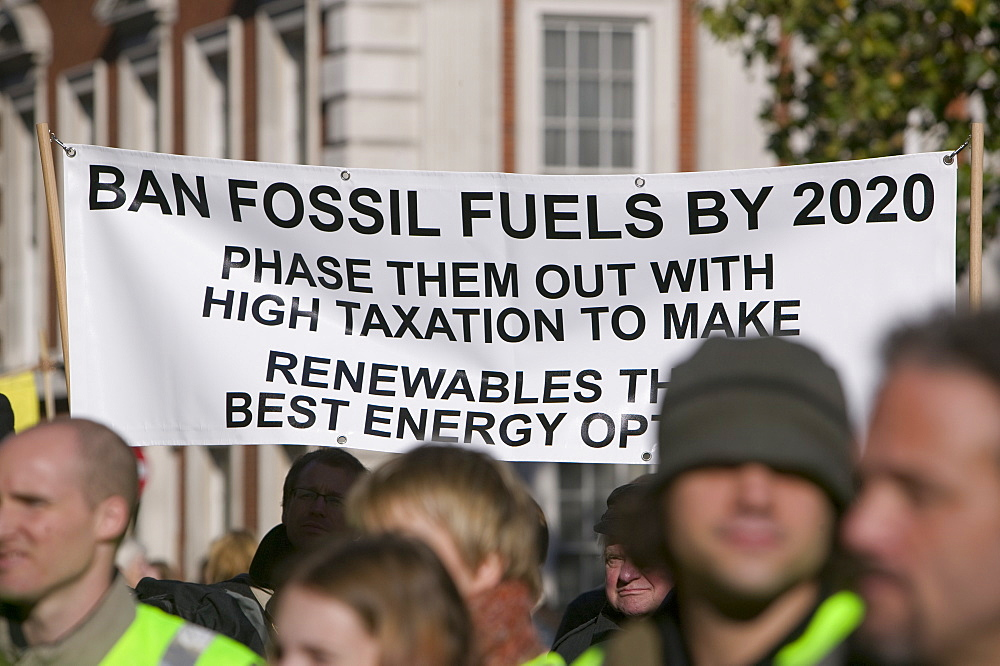 protestors  at the I Count climate change rally in London, England, United Kingdom, Europe