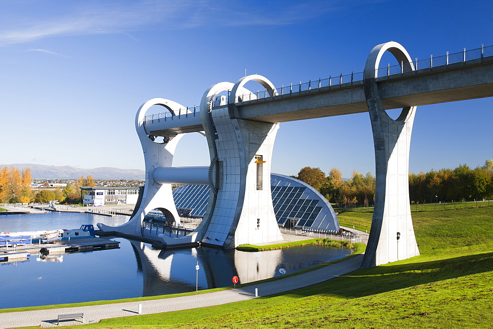 The Falkirk Wheel at Falkirk in Scotland, United Kingdom, Europe
