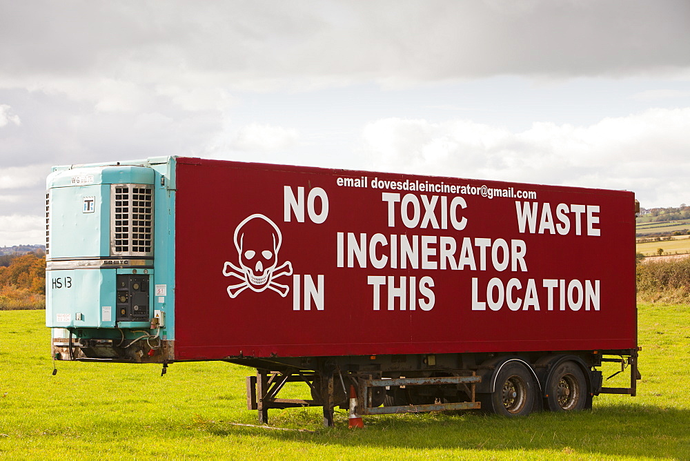 A protest sign against a planned waste incineration plant south of Glasgow, Scotland, United Kingdom, Europe