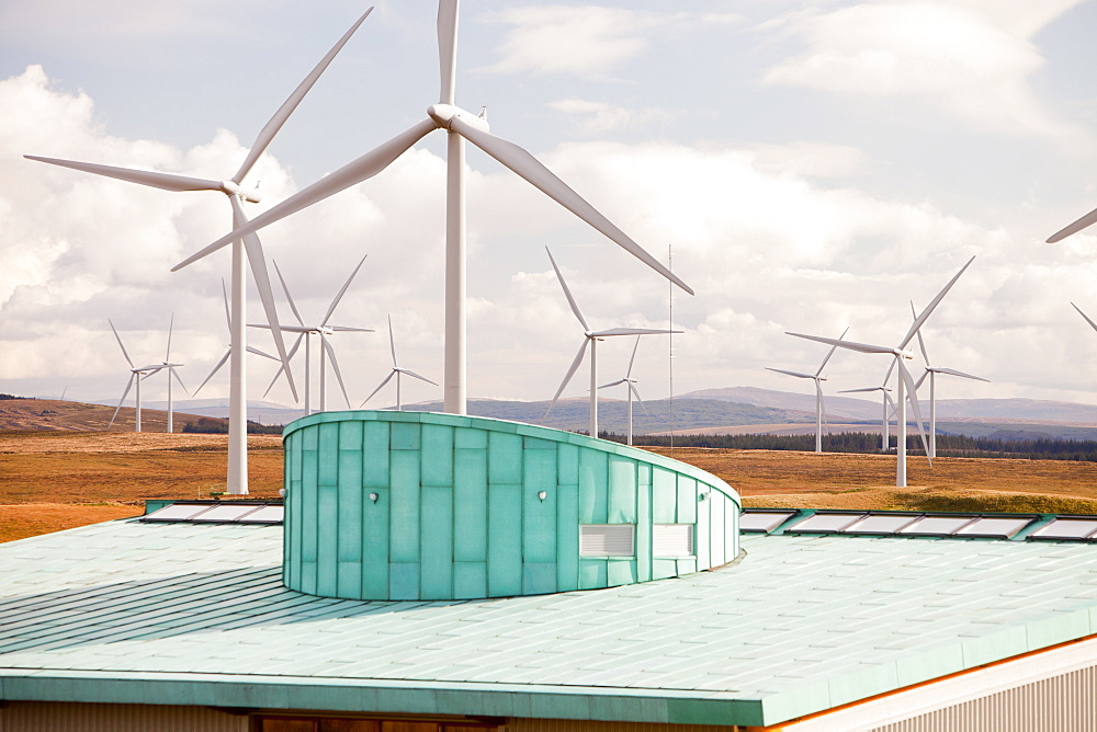 Scottish Power Visitor Centre at the Whitlee wind farm on Eaglesham Moor just south of Glasgow in Scotlasnd, United Kingdom, Europe