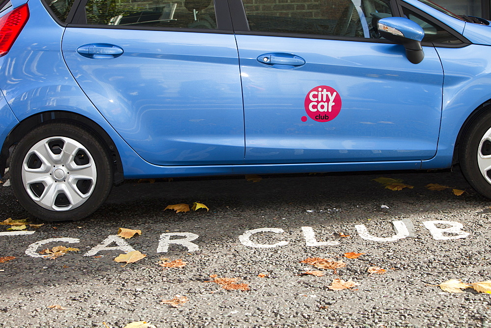 A parking space reserved for car club vehicles, London, England, United Kingdom, Europe