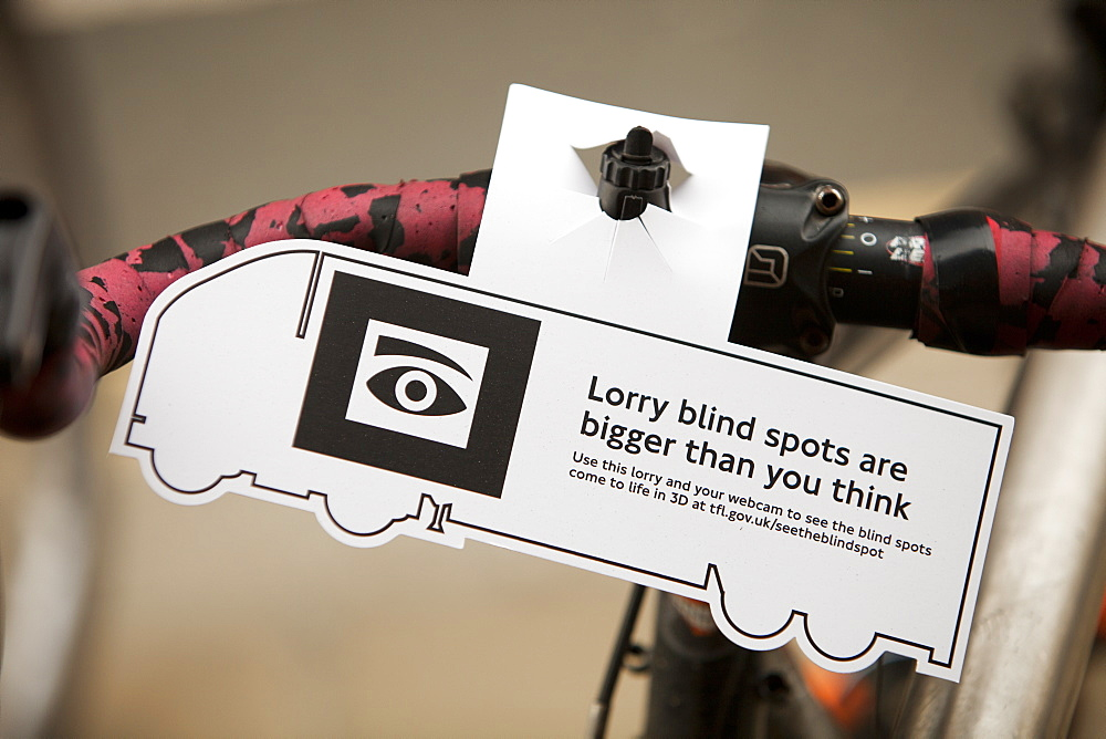 A cycling safety initiative highlighting the dangers of undertaking lorries at a junction in the driver's blind spot, London, England, United Kingdom, Europe