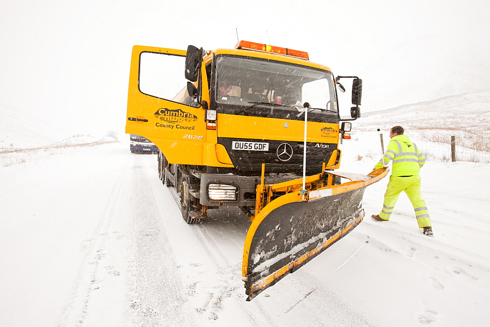 A snow plough on Dunmail Raise, Lake District, Cumbria, England, United Kingdom, Europe