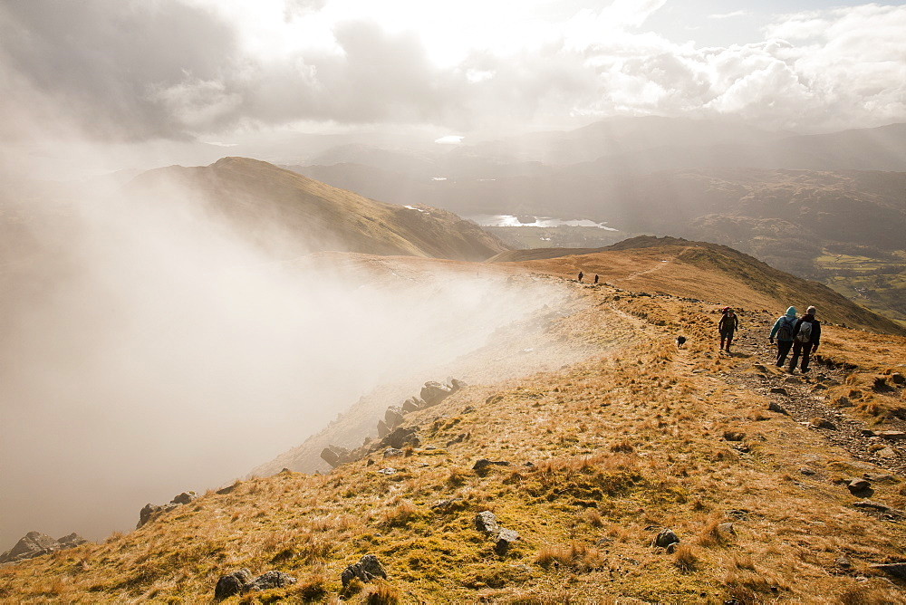 Mist blowing into Fairfield bowl in the Lake District, Cumbria, England, United Kingdom, Europe