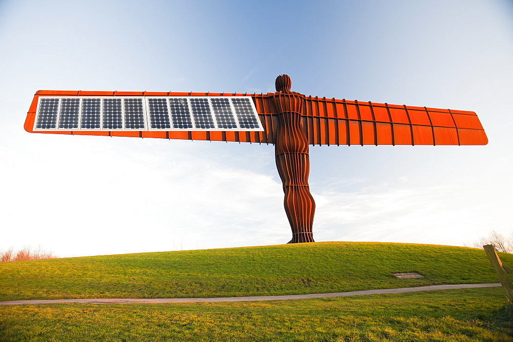 The Angel of the North, a massive steel sculpture above Gateshead by the artist Antony Gormley, Tyneside, England, United Kingdom, Europe - 911-7508