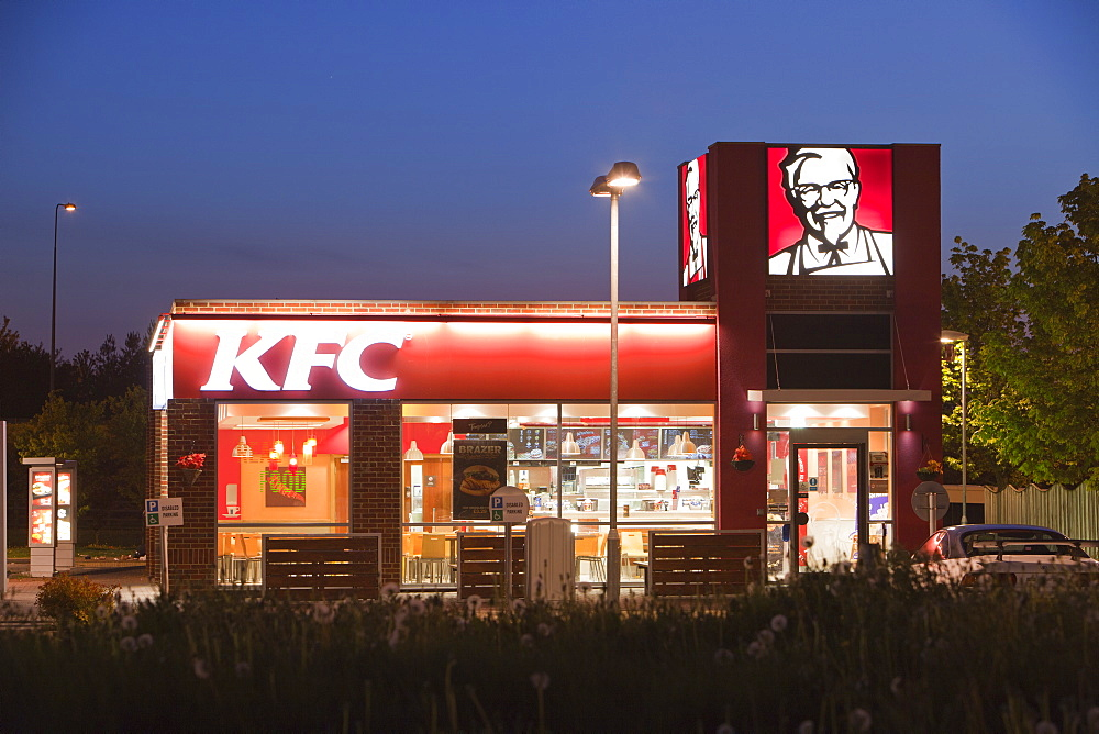 A Kentucky Fried Chicken store at night in Billingham, Teesside, England, United Kingdom, Europe