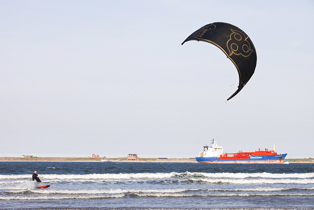 A Kite surfer in Teesmouth estuary, Teesside, England, United Kingdom, Europe