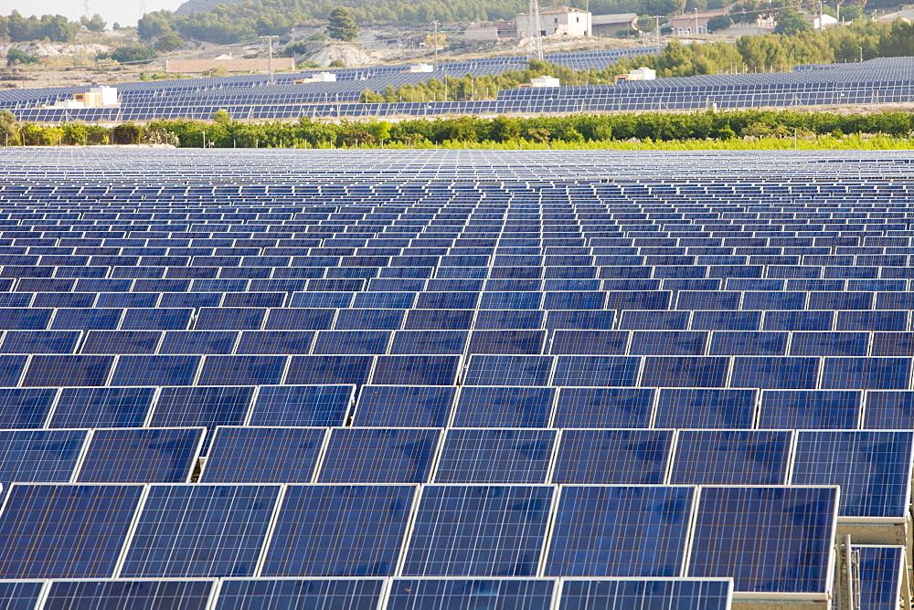 A photo voltaic solar power station near Calasparra at dawn, Murcia, Spain, Europe - 911-7679