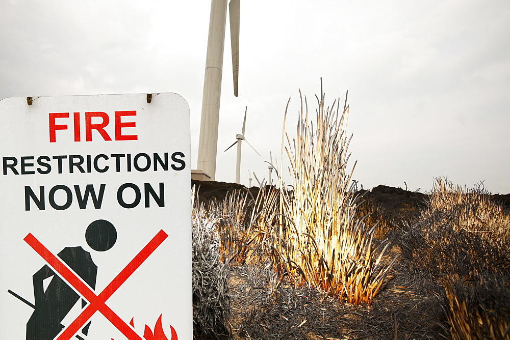 Fire restrictions sign on Ogden Moor near Wainstalls above Halifax where after the driest April on record moorland fires broke out, causing the windfarm to close, Yorkshire, England, United Kingdom, Europe