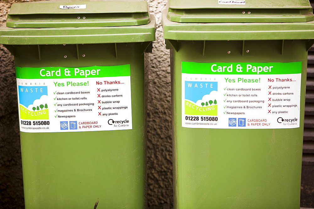 Recycling bins outside an Ambleside hotel, Cumbria, England, United Kingdom, Europe