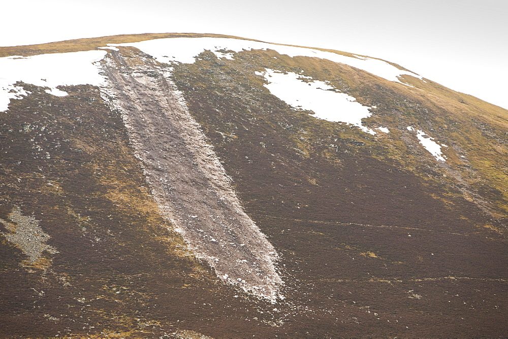 Avalanche debris on a hill off Drumochter Pass, Scotland, United Kingdom, Europe