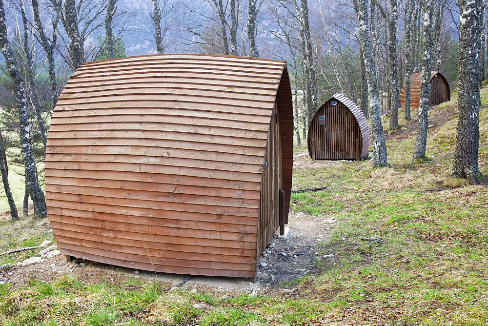 Camping pods powered by small solar panels at Lagganlia, Feshiebridge, Cairngorm, Scotland, United Kingdom, Europe - 911-7789