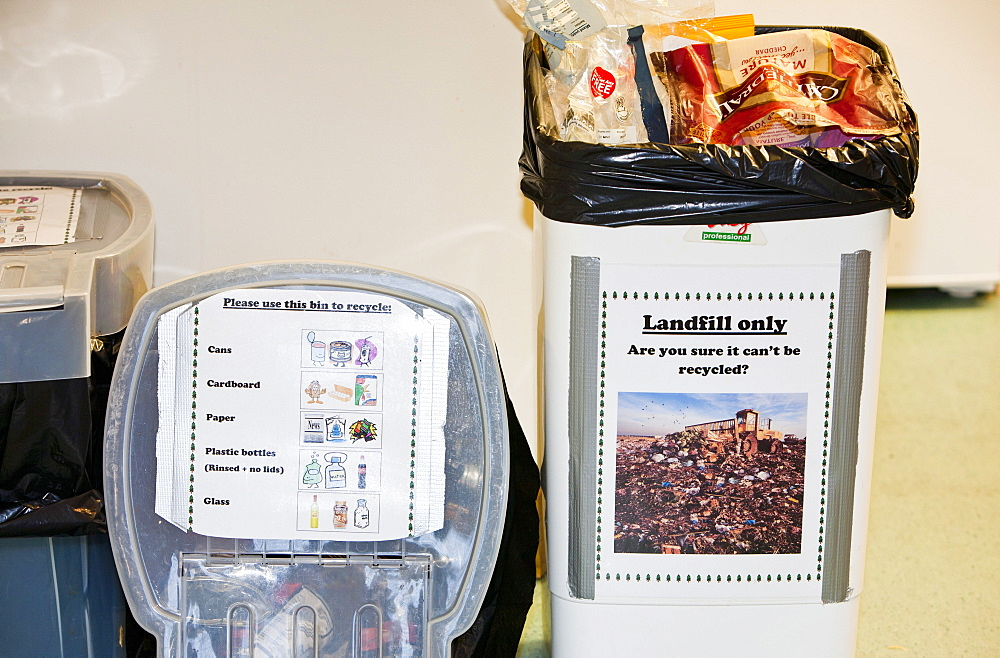 Recycling and rubbish bins in a kitchen at Lagganlia lodges, Cairngorm, Scotland, United Kingdom, Europe