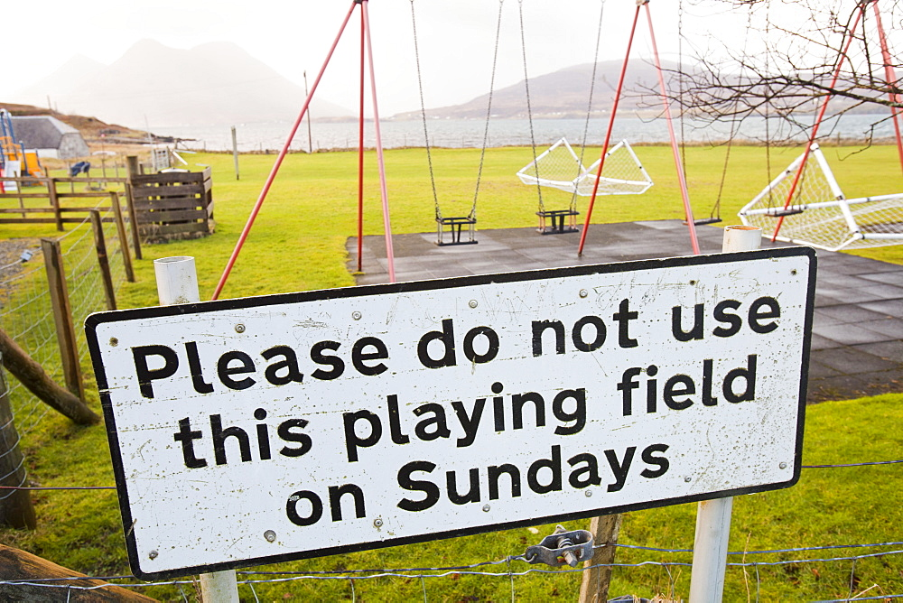 A sign indicating the community observes the Sabbath, in Inverarish on the Isle of Raasay, Scotland, United Kingdom, Europe