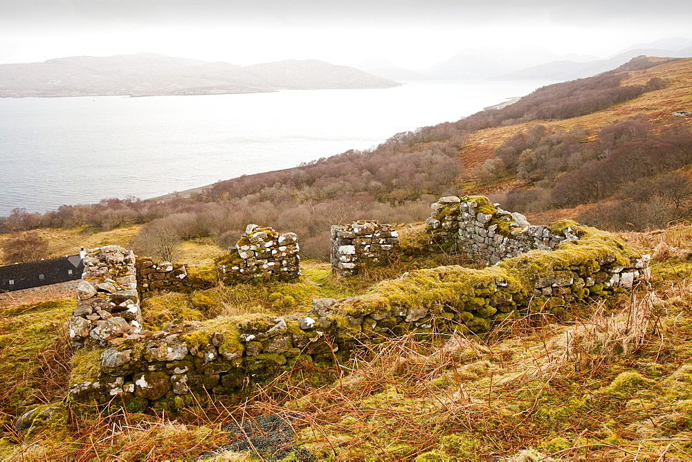 An old house left from the clearances at North Fearns on the Isle of Raasay, Scotland, United Kingdom, Europe