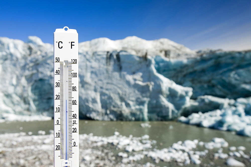 A thermometer taking the air temperature as part of a study to measure the speed of the Russell Glacier near Kangerlussuaq Greenland, Polar Regions