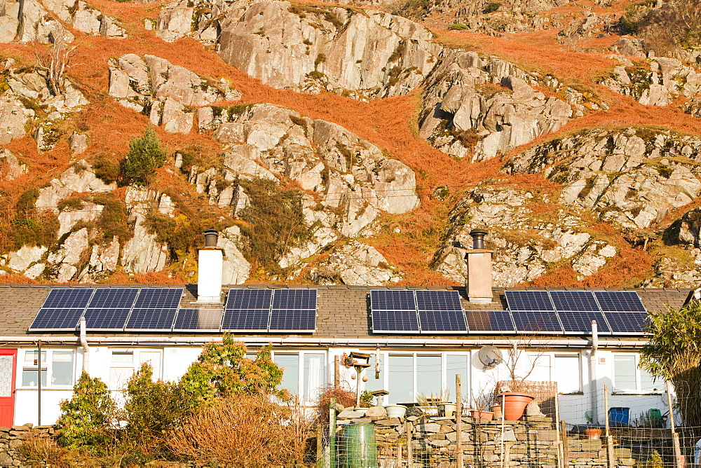 Solar panels on Council houses in Chapel Stile in the Langdale Valley, Lake District, Cumbria, England, United Kingdom, Europe - 911-7903