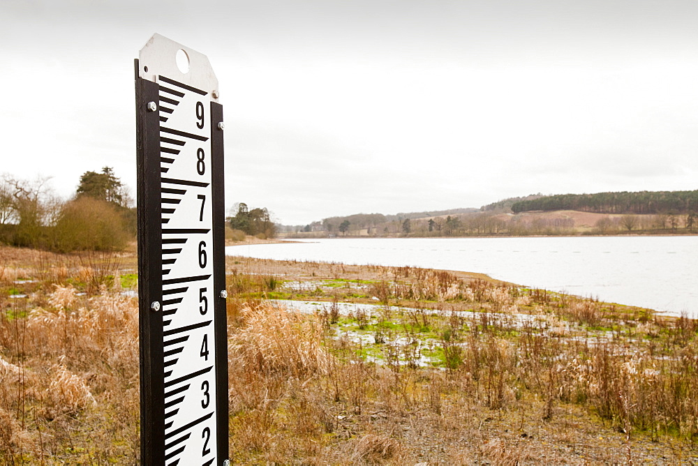 A measuring depth guage left high and dry in early March 2012 at Cropston Reservoir near Loughborough in Leicestershire, England, United Kingdom, Europe