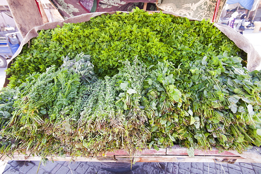 Mint and other herbs on a market stall in Marrakech, Morocco, North Africa, Africa