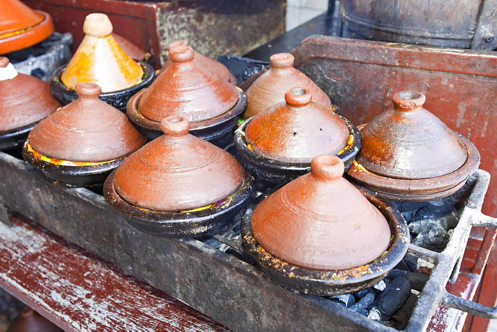 Tagines cooking on a cafe stove in Marrakech, Morocco, North Africa, Africa - 911-8022