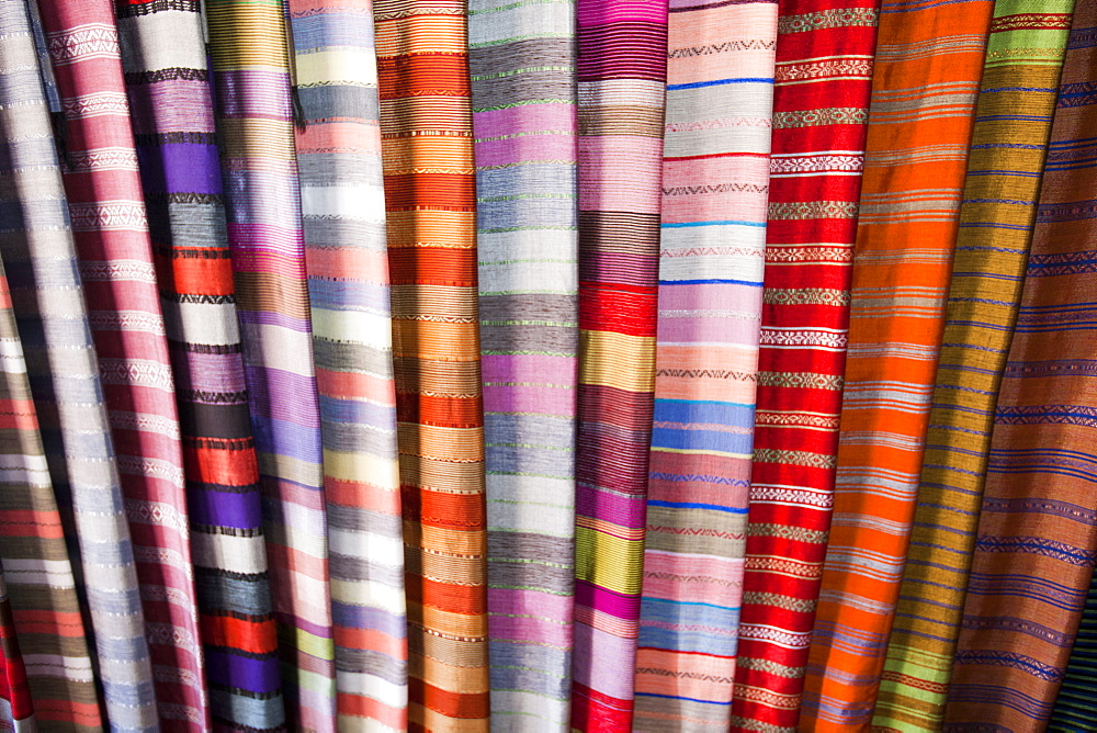 Traditional Moroccan cloth in a souk in Marrakech, Morocco, North Africa, Africa