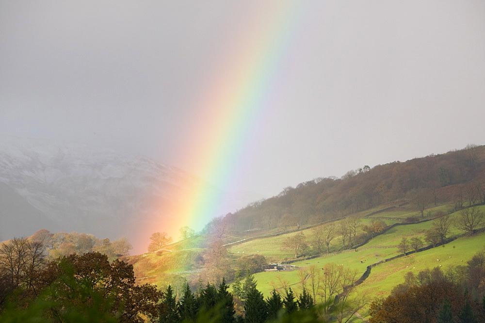 A rainbow over Ambleside, Lake District, Cumbria, England, United Kingdom, Europe