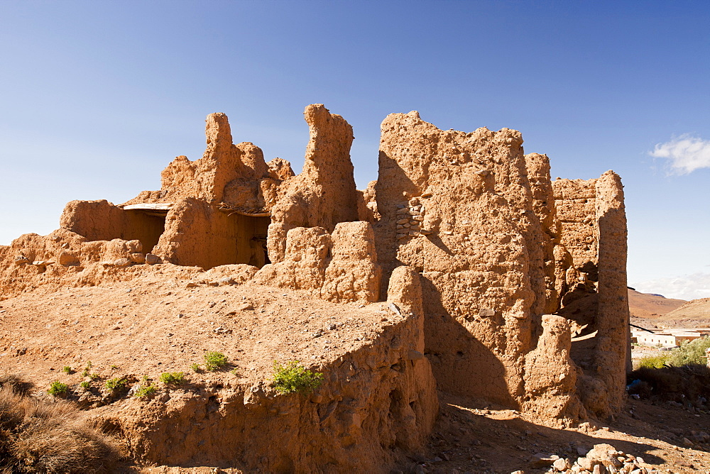 An ancient adobe house in a Berber village near Jebel Sirwa in the Anti Atlas mountains of Morocco, North Africa, Africa