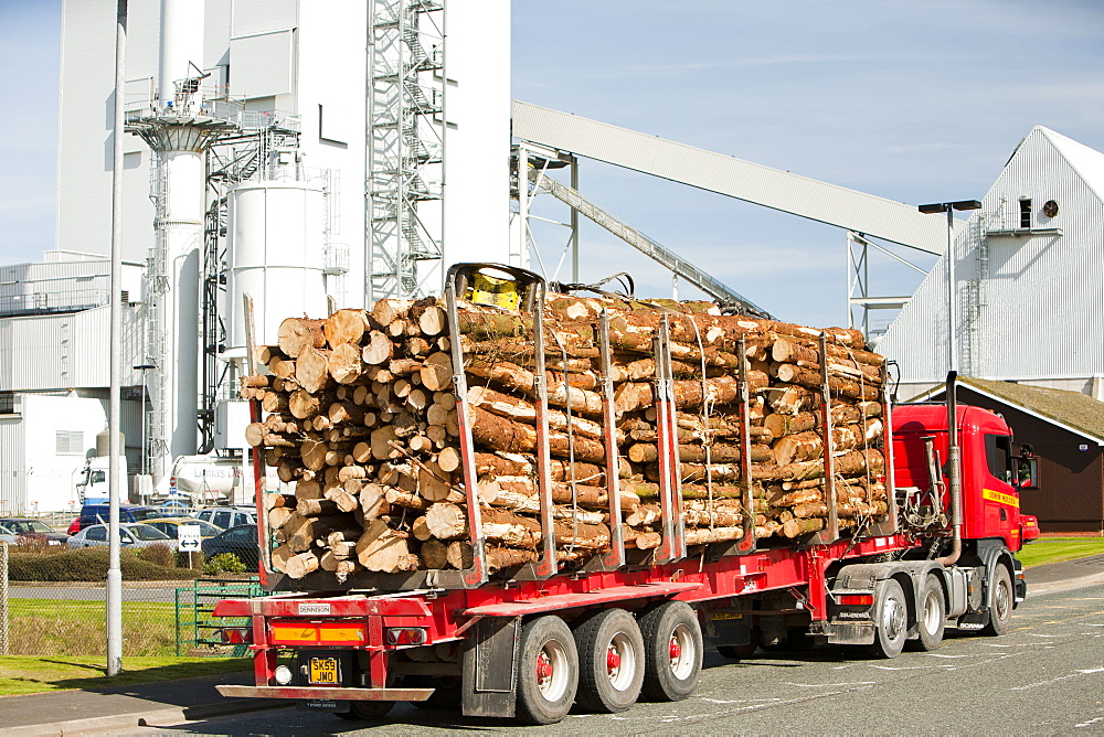 Lorry delivering timber entering the Steven's Croft biofuel power station in Lockerbie, Scotland, United Kingdom, Europe
