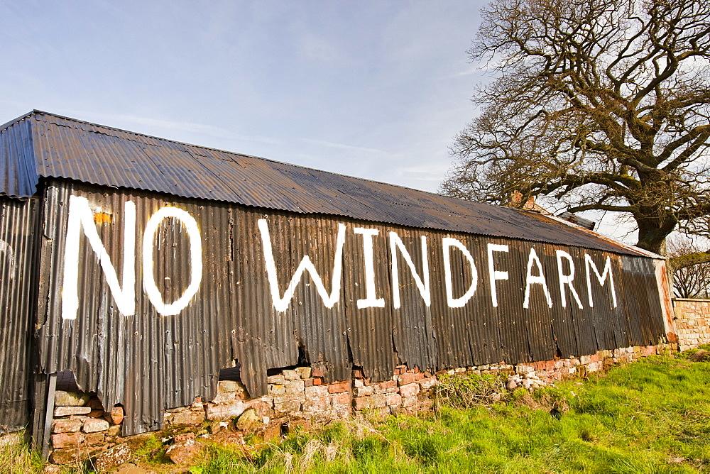 A wind farm protest sign near Carlisle, Cumbria, England, United Kingdom, Europe