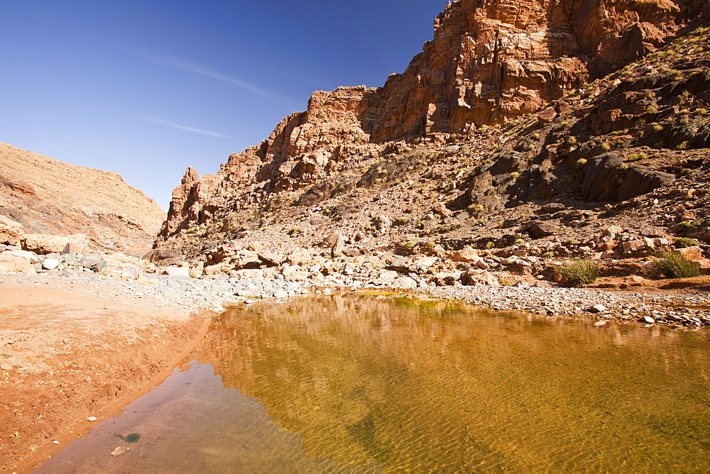 A pool in a river bed in the Anti Atlas mountains of Morocco, North Africa, Africa