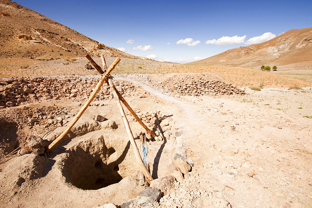 A well in the Anti Atlas mountains of Morocco, North Africa, Africa