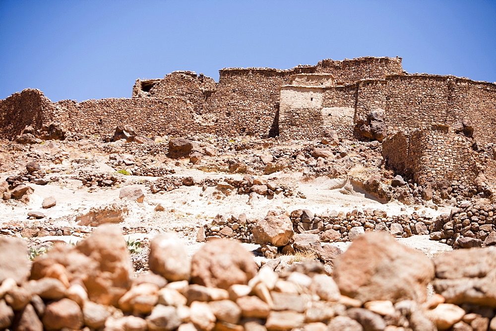 An ancient grain store (agadir) in a Berber village near Jebel Sirwa in the Anti Atlas mountains of Morocco, North Africa, Africa