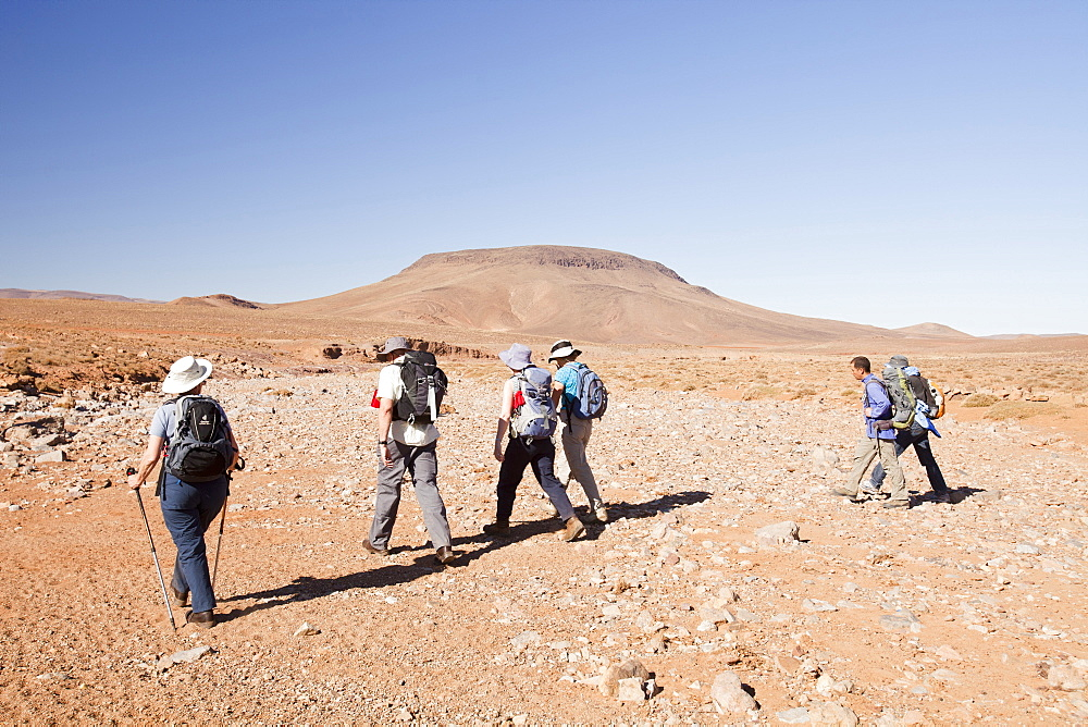 Trekkers cross a dried up river bed in the Anti Atlas mountains of Morocco, North Africa, Africa